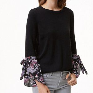 Sweaters - 2 for $25 Loft Floral Tie Cuff Light Black Sweater